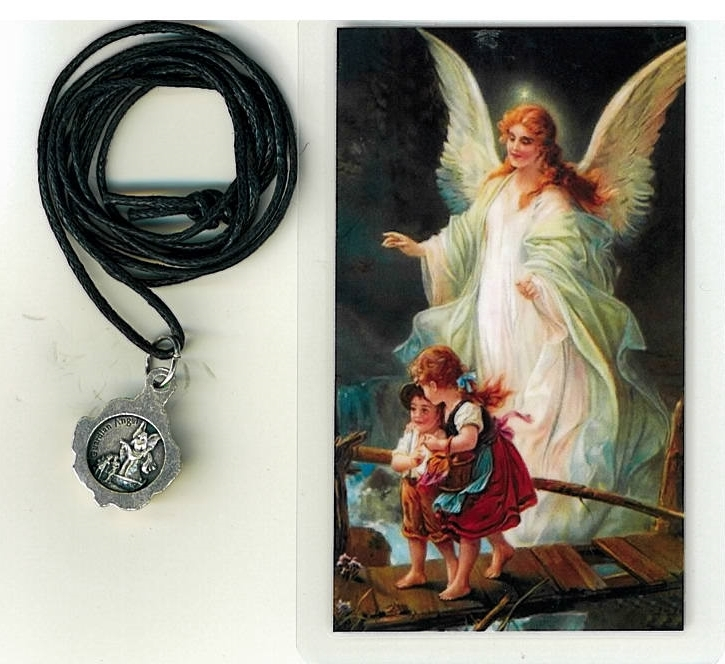 Necklace   angel de la guardia medal   holy card h125.0950 001