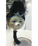 Katherine's Collection flapper cat ball ornament Silver sequin slight fl... - $39.99