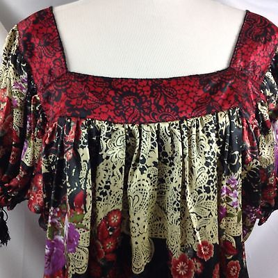 Primary image for Avenue Satin Tunic Red Black Floral Lace Print Top Tassle Gathered Sleeve 22 24