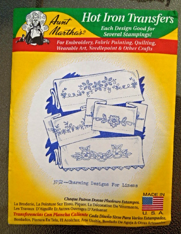 Hot Iron Tranfers For Embroidery and More -  Charming Designs for Linens #6977 - $2.99