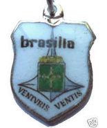 BRAZIL BRASILIA Vintage Enamel Travel Shield Charm - $24.95