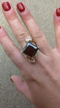 Huge 14ct Black Diamond .35 ct white diamond 14k gold & SS Engagement ri... - $14,899.99