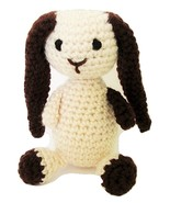 Cream and Brown Plush Long Eared Bunny Crochet Amigurumi Style, Six Inch... - $380,84 MXN
