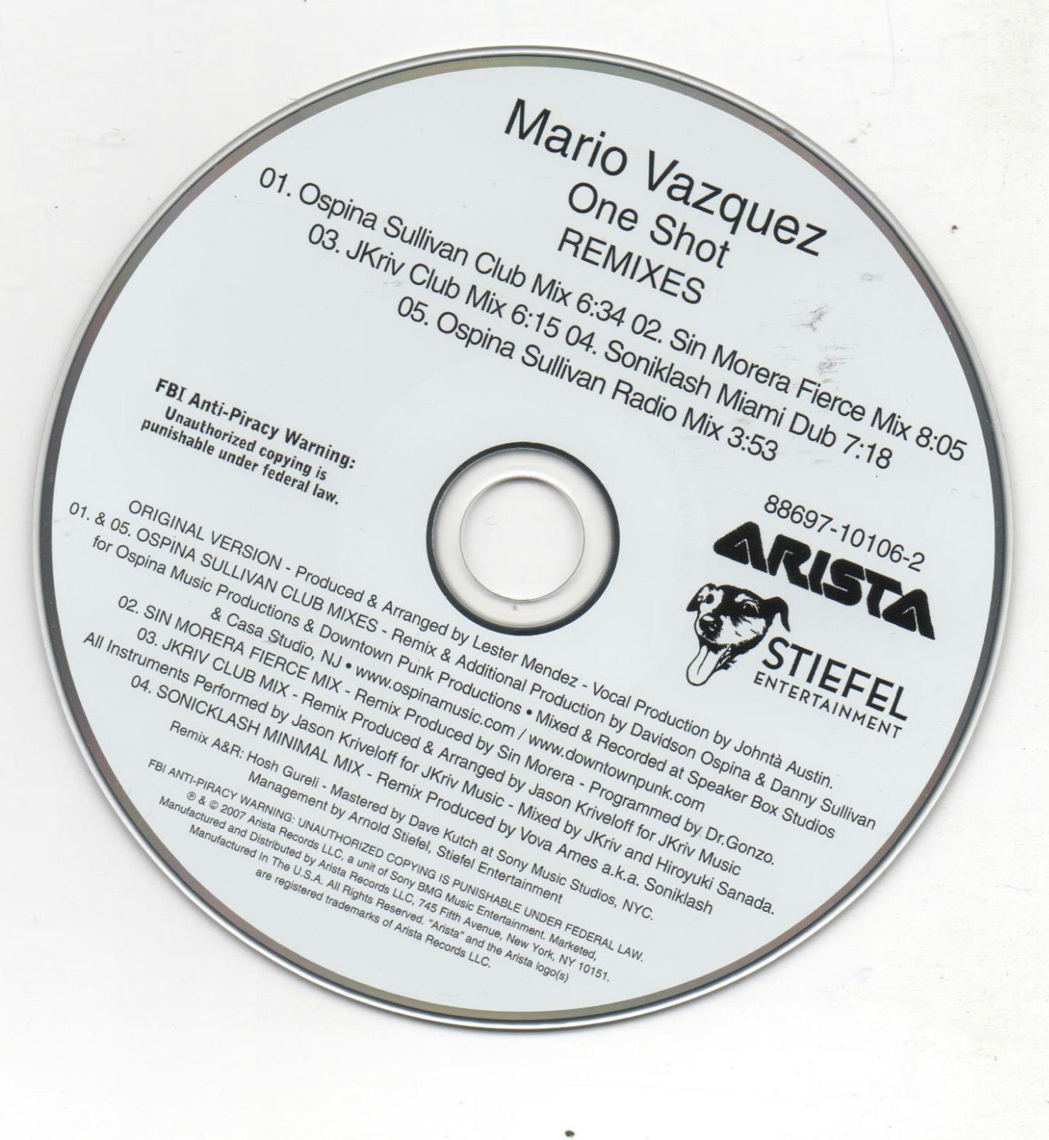 Primary image for Mario Vasquez One More Shot Limited Edition 5 Track 2007 Promo CD