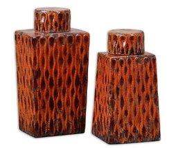 Uttermost 19504 Raisa Decorative Bottle-Canister in Distressed Crackled Burnt Or - $217.80