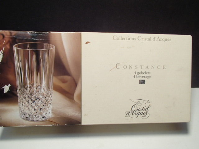 Primary image for 4 CRISTAL D'ARQUES CONSTANCE HIGHBALL TUMBLERS IN BOX