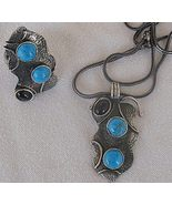 Onyx and turquoise silver set - $85.00