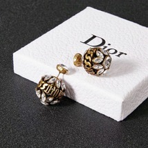 NEW AUTH Christian Dior 2019 DIO(R)EVOLUTION CRYSTAL TRIBALES EARRINGS AGED GOLD image 12