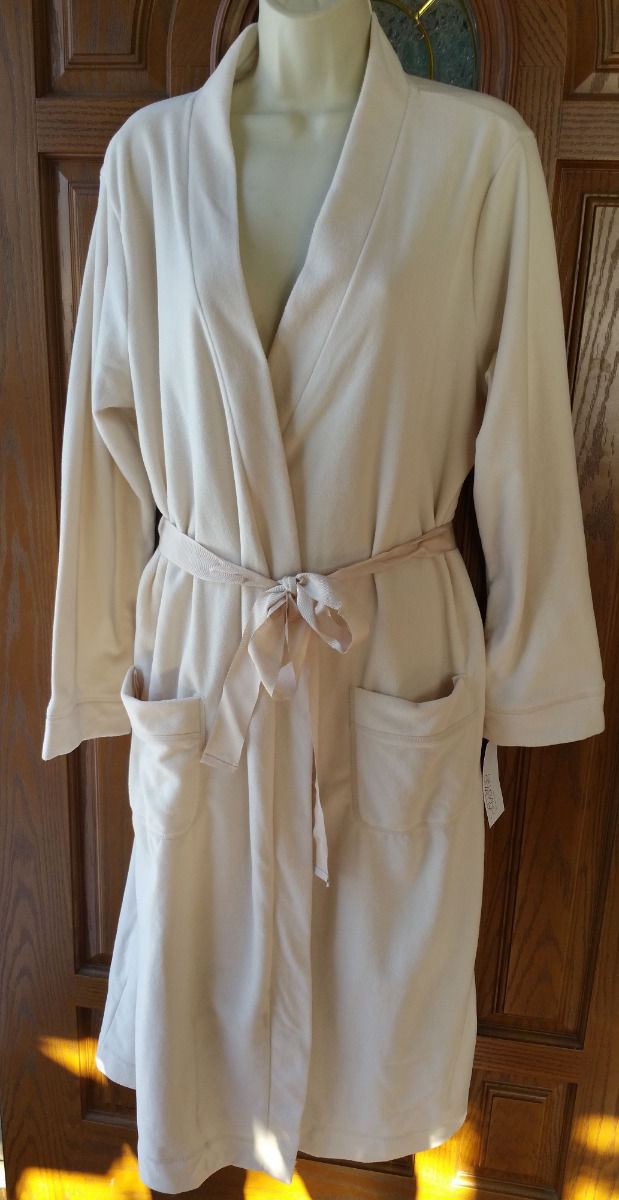 Gilligan & O'Malley Micro fleece Soft Robe-Lounge-Long Stucco Natural Cream XXL - $22.74