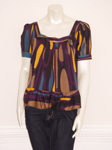 DIANE von FURSTENBERG EDITH TRAVELER PATCH BLACK TOP BLOUSE - US 2 - UK 6 - $76.52