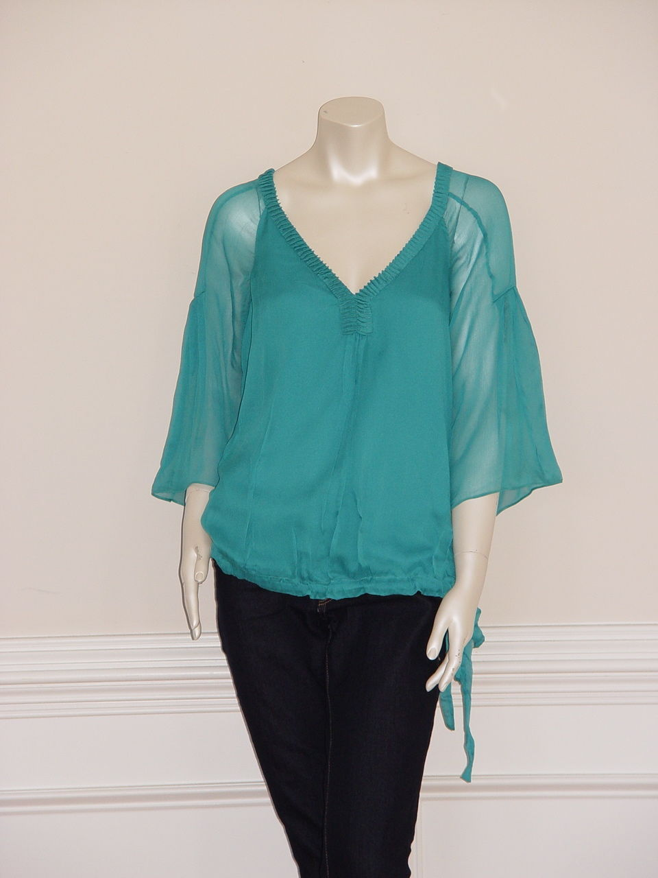 Primary image for DIANE von FURSTENBERG CHIARA JOCKEY GREEN TOP BLOUSE - US 12 - UK 16