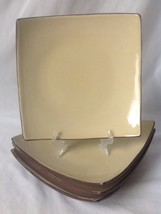 4 Gibson Elite Luncheon Plates Yellow w Brown Square Upturned Corners St... - $14.95
