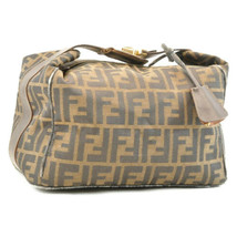 FENDI Zucca Canvas Hand Pouch Brown Black Auth ar1455 - $180.00