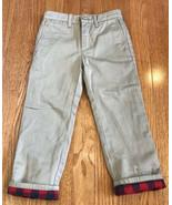 Crewcuts J.Crew Boys Tan Khaki Buffalo Plaid Cotton Lined Pants Size 4 t... - $14.82