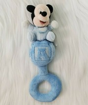 Disney Mickey Mouse Baby Plush Blue Hand Rattle Soft Lovey Toy B350 - $9.99
