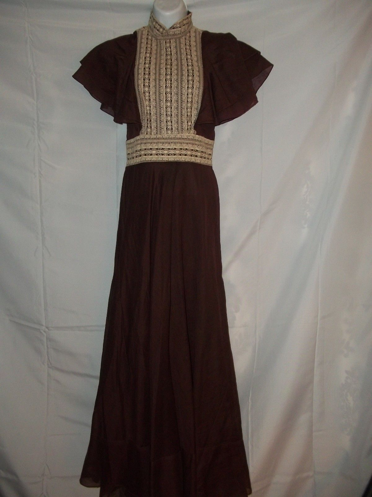 Primary image for Vintage 70s S. Howard Hirsh California Eggplant w/ Lace Maxi Dress Size 8 Classy