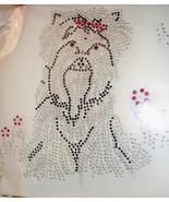 LARGE Yorkie Westie Shih Tzu Crystal & Floral Rhinestone IRON ON Appliqu... - $9.99