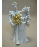 Statue Figurine Poly Resin Bride & Groom All Wh... - $9.00