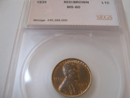 1935 , Lincoln Penny , Red/Brown , UnCirculated , SEGS ,  MS-60 - $25.00
