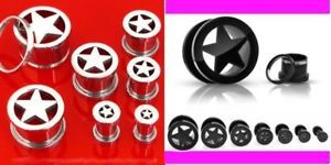 Primary image for 2 PAIR TITANIUM & STEEL STAR SCREW PLUG ear gauge black