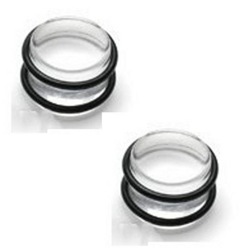 Primary image for 00g gauge Pair CLEAR ACRYLIC PLUGS tunnels ear stretch