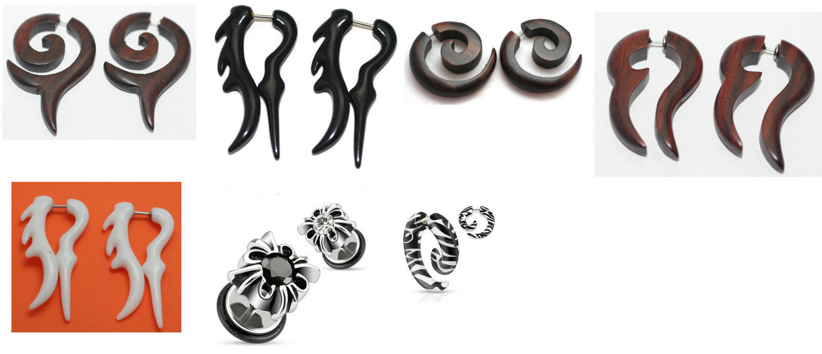 Primary image for 2 Pairs Fake Cheater Tapers plugs ear gauges spirals 16g Wood Steel Zebra Black