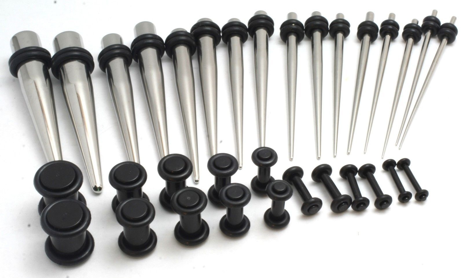 Primary image for 32pc EAR STRETCHING KIT STEEL Tapers +16 Black PLUGS 0G-14G gauges