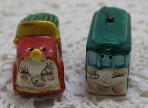 Vintage Anthropomorphic Bus and Fire Truck S&P Shakers - Salt and Pepper Shakers