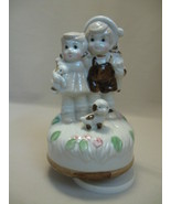 Music Box Wind Up Figurine Little Boy Girl Dog ... - $9.99