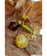 Midsummer Whimsy necklace: firefly charm, beads, wire, & authentic yello... - $33.00
