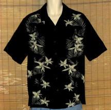 Caribbean Joe Hawaiian Shirt Black Green Medium - $16.95