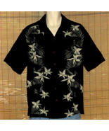 Caribbean Joe Hawaiian Shirt Black Green Medium - $16.95