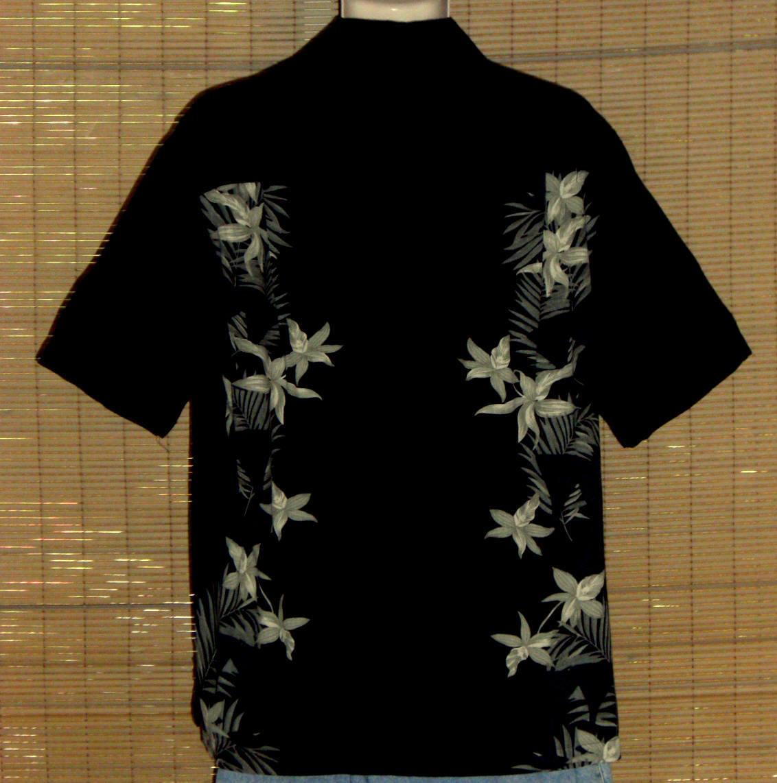 Caribbean Joe Hawaiian Shirt Black Green Medium