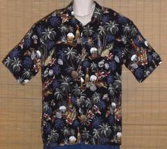 Van Heusen Hawaiian Shirt Black Blue Red Gray Bottles Large - $15.95