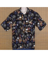 Van Heusen Hawaiian Shirt Black Blue Red Gray Bottles Large - $15.95