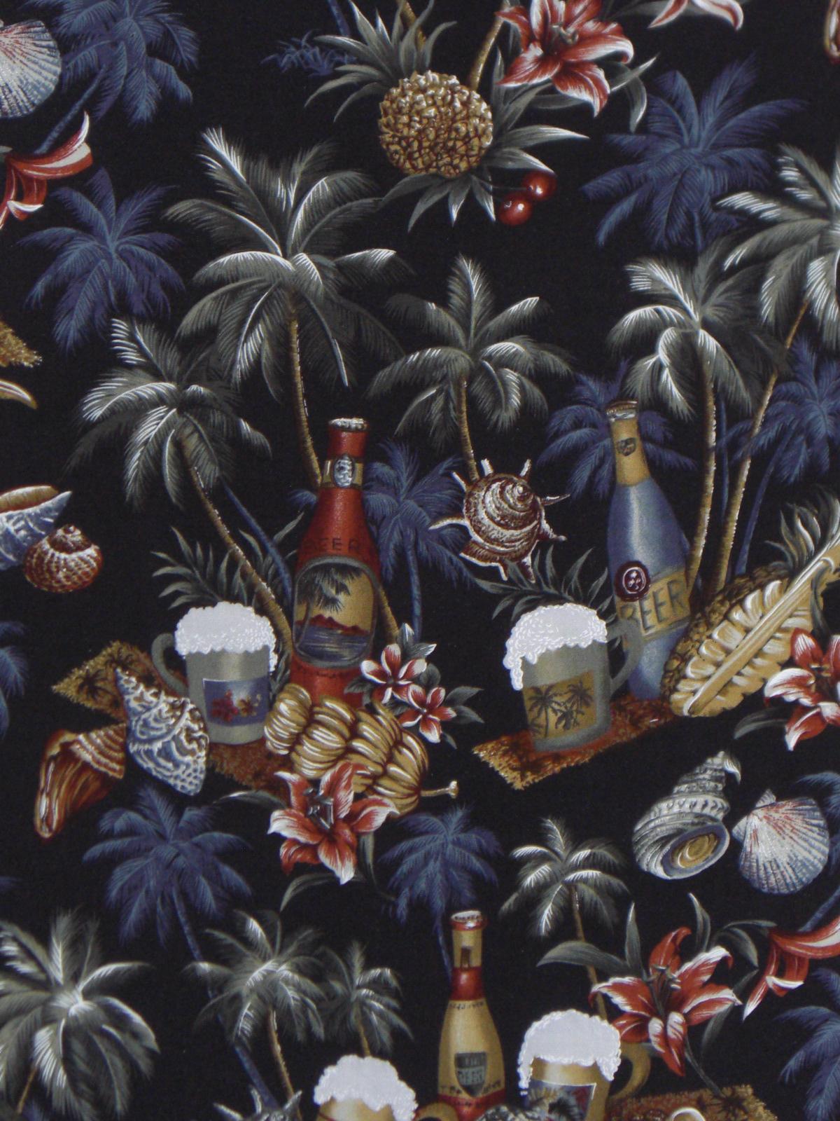 Van Heusen Hawaiian Shirt Black Blue Red Gray Bottles Large
