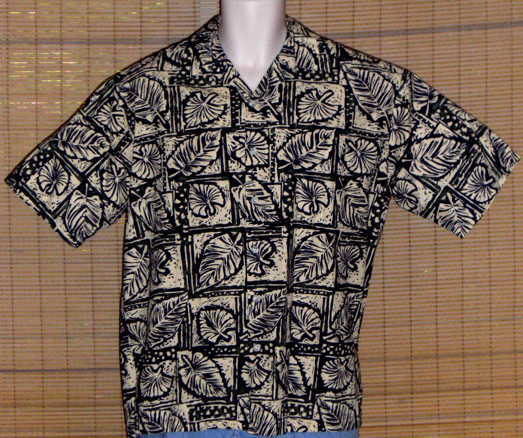 Cooke Street Hawaiian Shirt Beige Green Blue Large