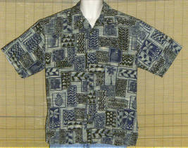 Cooke Street Hawaiian Shirt Green Blue Black Tan Large - $29.95