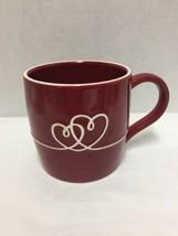 Starbucks Coffee Mug Cup Red Ceramic 2010 Embossed Love 2 Hearts - $28.04