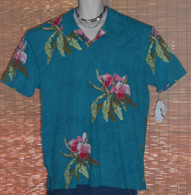 Cubavera Hawaiian Polo Shirt Turquoise Blue Flowers XXL NWT - $29.95