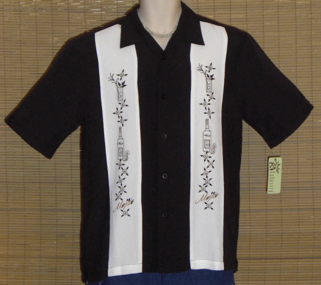 Cubavera Hawaiian Shirt Black White Small NWT