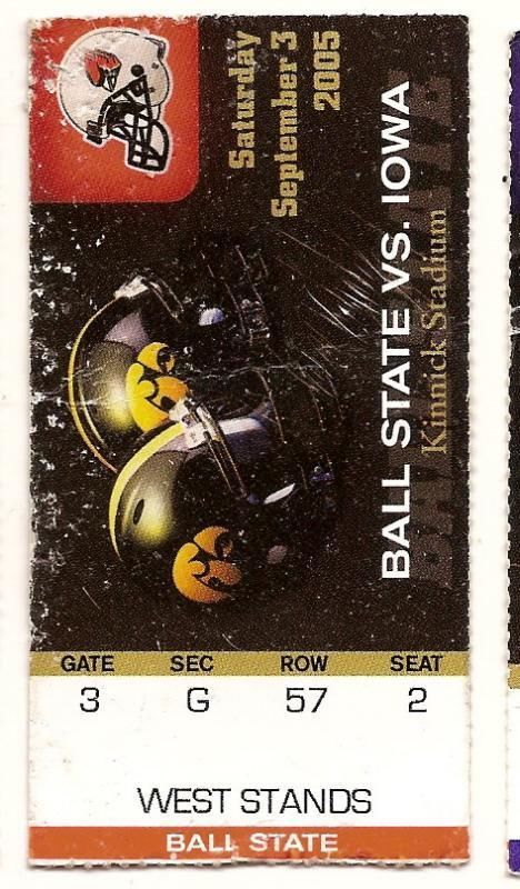 Primary image for 2005 Sept 3rd Ticket Stub Ball State @ Iowa College Football Kinnick Stadium