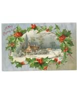 Best Wishes Happy Christmas vintage postcard village 1909 holly village ... - $7.50