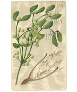 Best Wishes Christmas vintage postcard wishbone holly 1908 Victorian ant... - $7.50