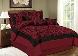 QUEEN Bed in a Bag 7 pc.Luxurious Comforter Bedding Ensemble Set Floral-BURGUNDY - $79.95