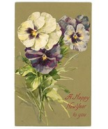 New Year vintage Victorian greeting postcard pansies gold embossed Victo... - $7.00