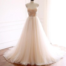 Vintage Tulle Wedding Dress Champagne Custom Wedding Dresses with Beads