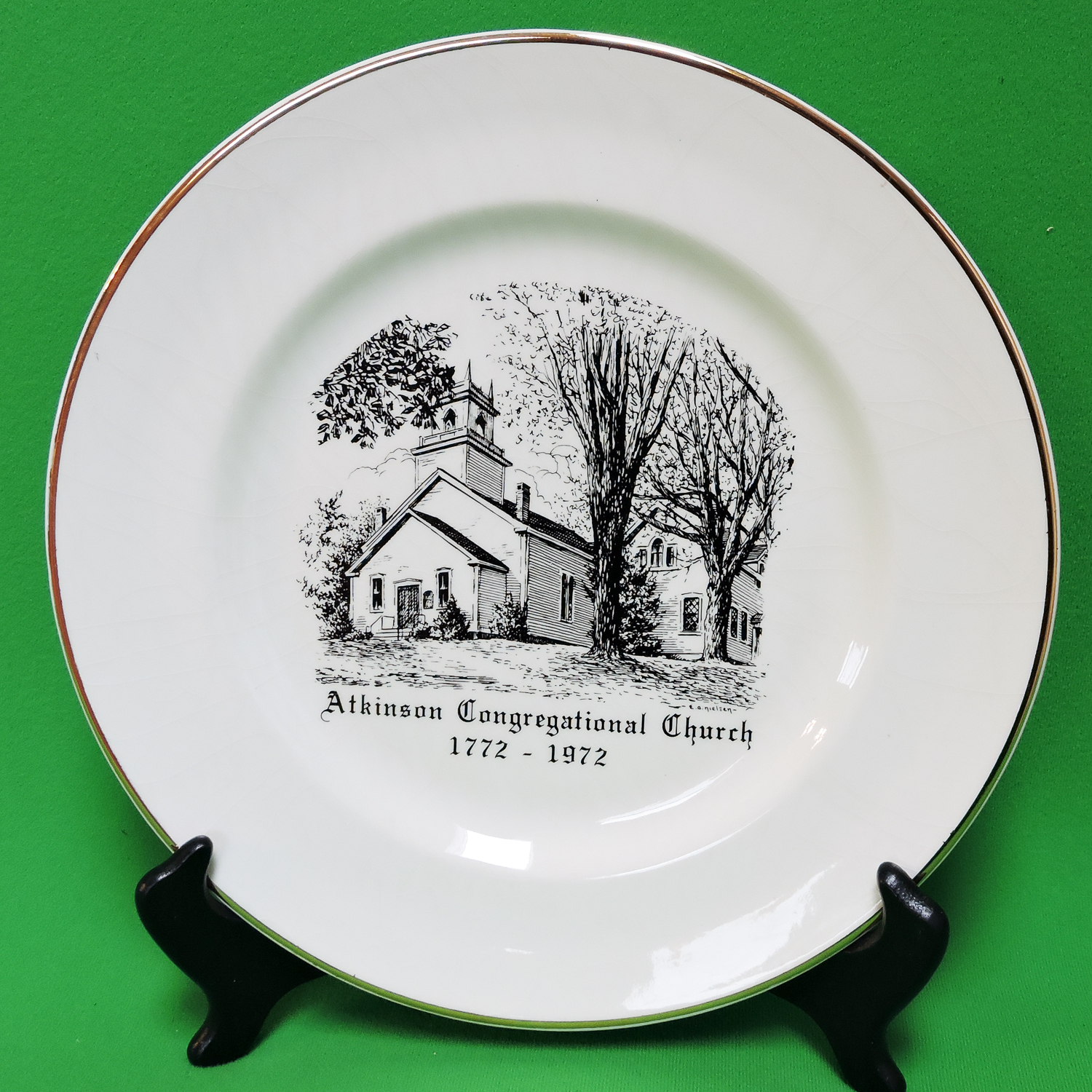 "Primary image for Vintage Unmarked 10"" Collector Plate, Atkinson Congregational Church"