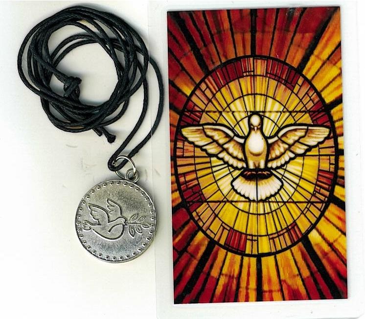 Necklace   espiritu santo medal   holy card h125.0895 001