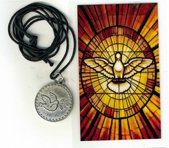 Necklace - Espiritu Santo Medal & Holy Card - LH125.0895 - $6.99